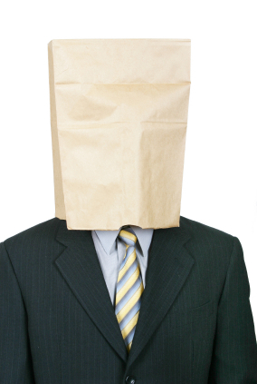 Man with sack over his head