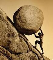 Sisyphus Pushing Rock
