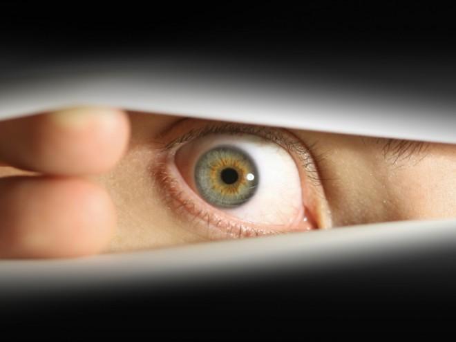 Paranoia Male eye peering through blinds