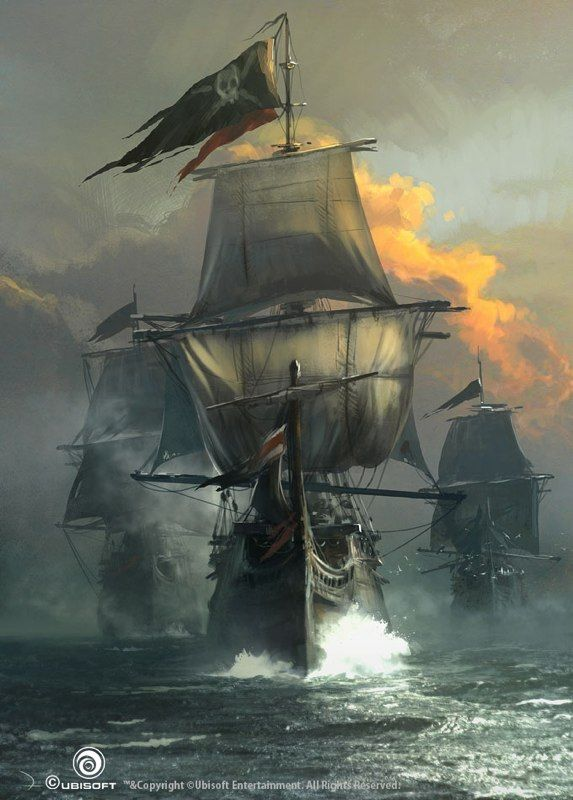 Pirate Ship with Skull and Crossbones