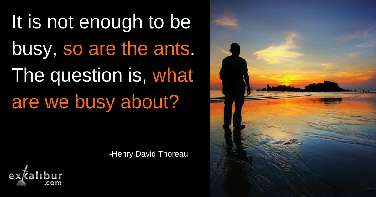 It is not enough to be busy, so are the ants. The question is, what are we busy about?